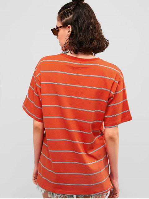 Camiseta Túnica Algodón Rayas Boyfriend - Castaño Rojo M Mobile