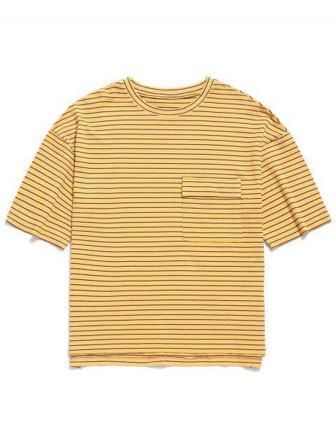 Túnica a rayas bolsillo bolsillo novio túnica túnica - Amarilla de Abeja  L Mobile