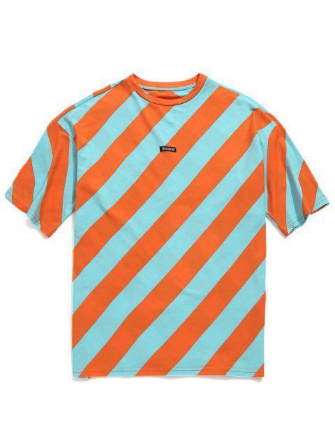 Camiseta de túnica a rayas con hombros caídos - Multicolor M Mobile