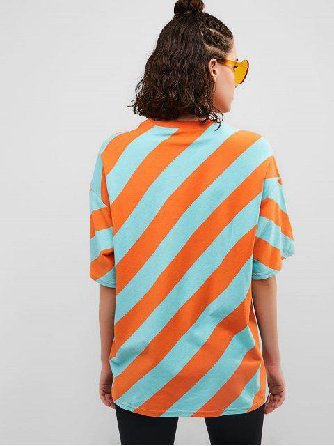 Camiseta de túnica a rayas con hombros caídos - Multicolor XL Mobile