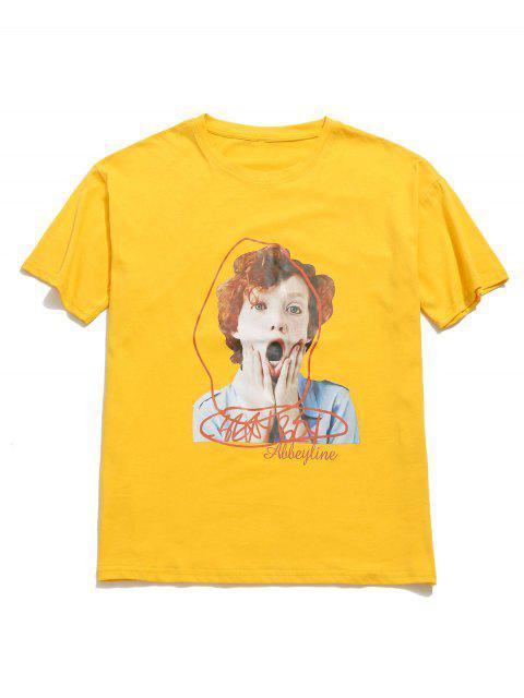 Camiseta con cuello redondo y gráfico de boyfriend con hombros caídos - Amarillo L Mobile