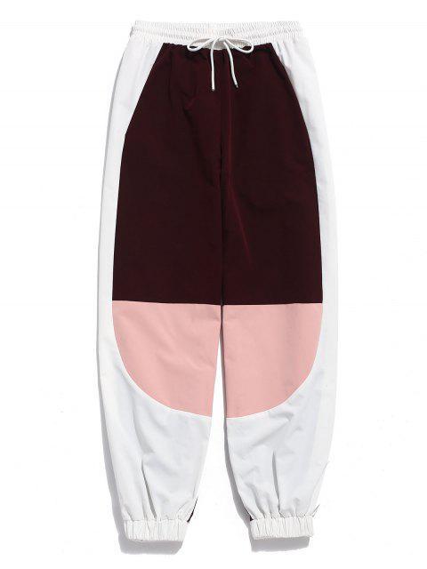 ZAFUL Color Block Drawstring Jogger pantalones - Ladrillo Refractario L Mobile