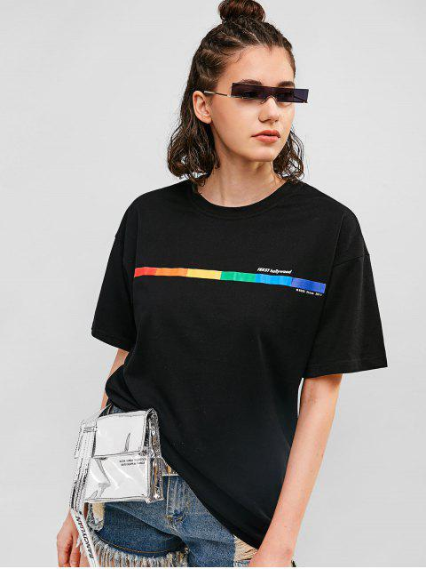 Camiseta estampada Boyfriend con hombros caídos - Negro M Mobile