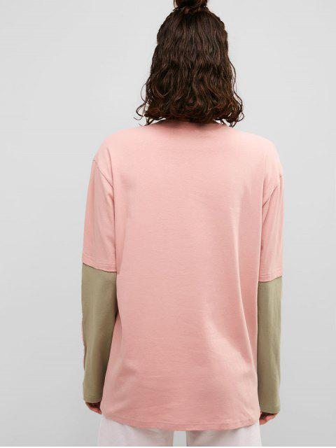 Camiseta de novio de túnica en dos tonos de bolsillo del pecho - Rosado M Mobile