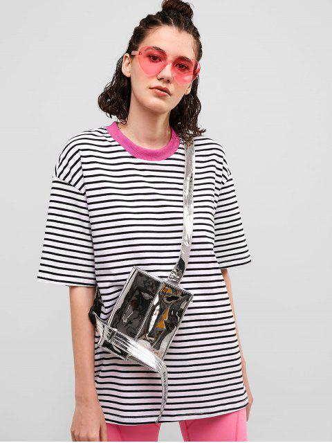 Camiseta de novio con túnica a rayas y hombros caídos - Multicolor-A S Mobile