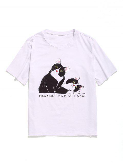 Camiseta de manga corta de algodón con gráfico de gato - Blanco M Mobile
