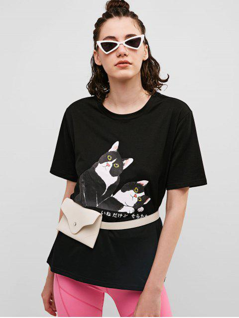 Camiseta de manga corta de algodón con gráfico de gato - Negro L Mobile