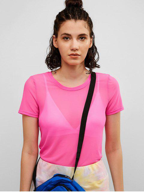 ZAFUL Semi Sheer Mesh Solid Tee - Rosa Brillante S Mobile