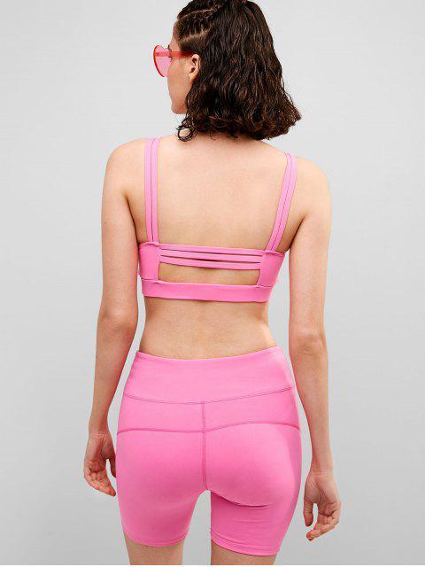 ZAFUL Lattice - Pantalones cortos ajustados con bolsillo oculto - Rosa Brillante S Mobile