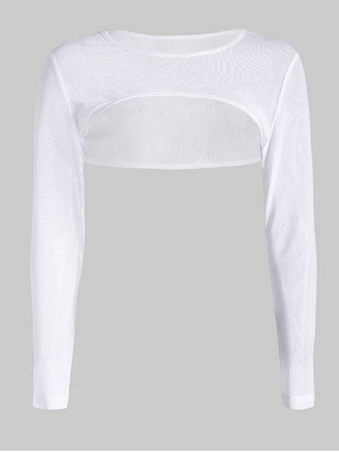 ZAFUL Cortar recortar pura camiseta de malla - Blanco S Mobile