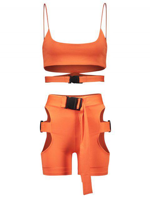 Conjunto de pantalón corto y recortado de neón Gym Cami - Naranja Papaya S Mobile