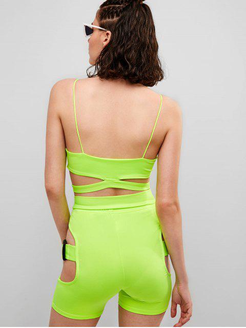 Conjunto de pantalón corto y recortado de neón Gym Cami - Verde de Pistacho M Mobile