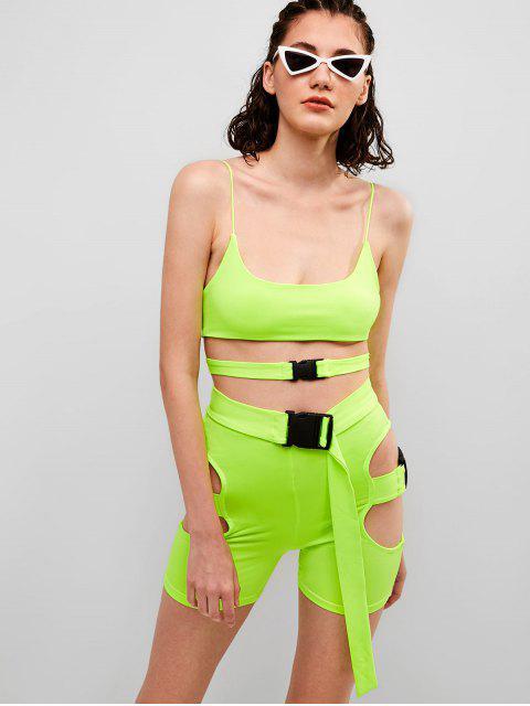 Conjunto de pantalón corto y recortado de neón Gym Cami - Verde de Pistacho L Mobile