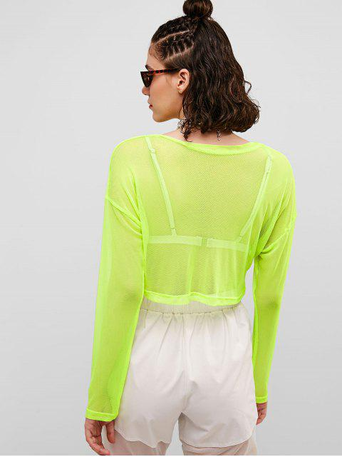 Camiseta transparente con media cremallera de malla de neón - Verde de Pistacho S Mobile