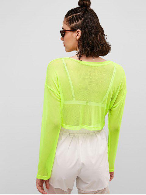 Camiseta transparente con media cremallera de malla de neón - Verde de Pistacho M Mobile