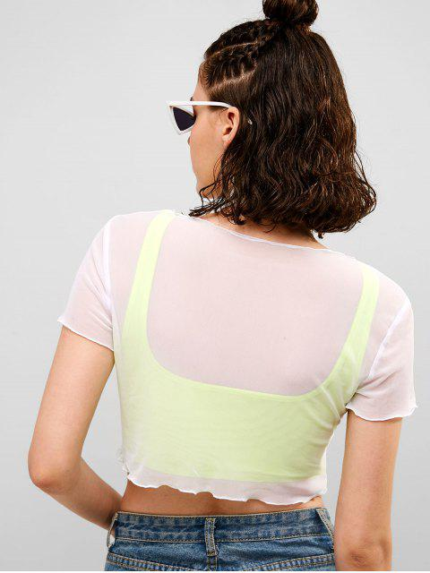 womens ZAFUL Lettuce Trim Crop Mesh Tee - WHITE L Mobile