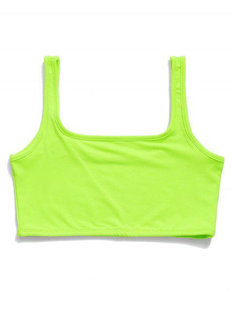Camiseta sin mangas de neón con cuello en U y gimnasio - Verde de Pistacho L Mobile