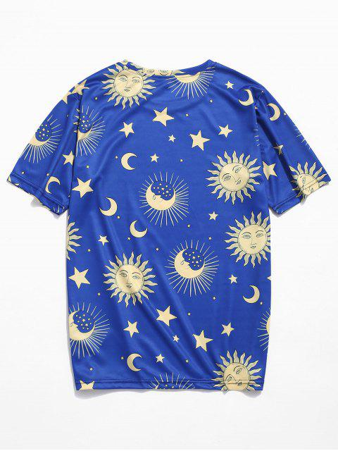 Camiseta con mangas cortas Sun Moon Star Pattern - Azul 4XL Mobile