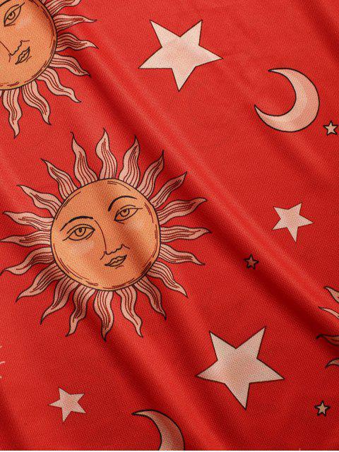 Camiseta con mangas cortas Sun Moon Star Pattern - Rojo M Mobile
