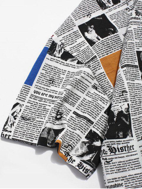 Camiseta casual con estampado de periódico retro - Blanco XL Mobile