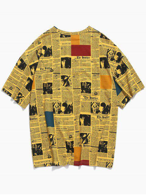 Camiseta casual con estampado de periódico retro - Amarillo 3XL Mobile