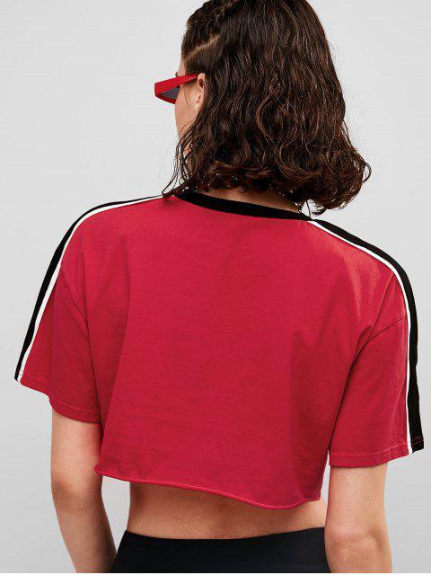 ZAFUL Striped Hombro camiseta corta - Rojo M Mobile