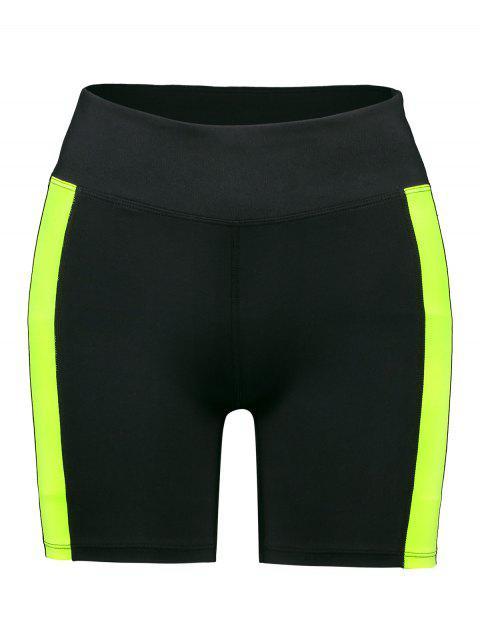ZAFUL Color Block Shorts pitillo de talle alto - Negro M Mobile