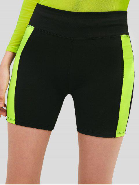 ZAFUL Color Block Shorts pitillo de talle alto - Negro S Mobile