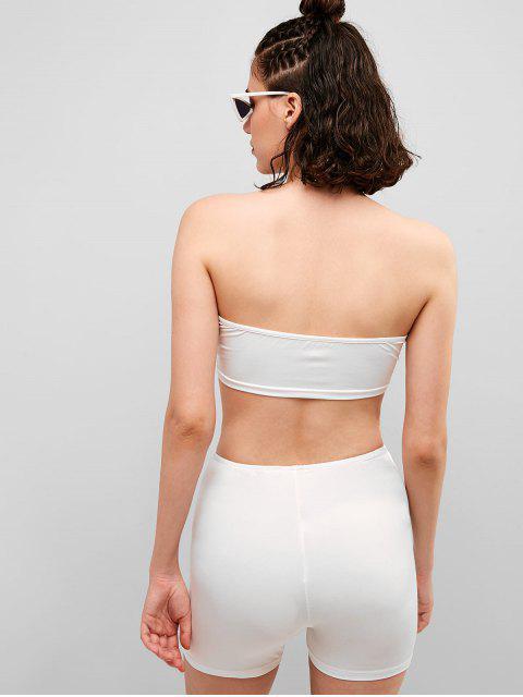 Set de shorts ajustados con diamantes de imitación - Blanco L Mobile