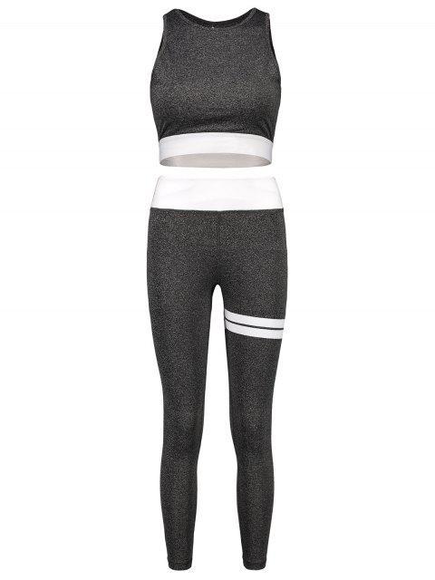 Conjunto de top y leggings para gimnasio Space Dye Cut Out - Nube Gris M Mobile