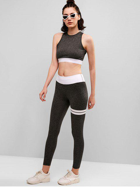 Conjunto de top y leggings para gimnasio Space Dye Cut Out - Nube Gris L Mobile