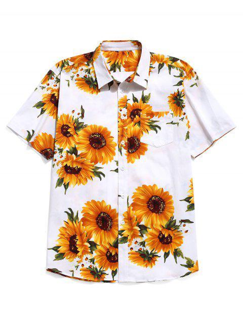 chic Sunflower Print Short Sleeves Shirt - WHITE XL Mobile