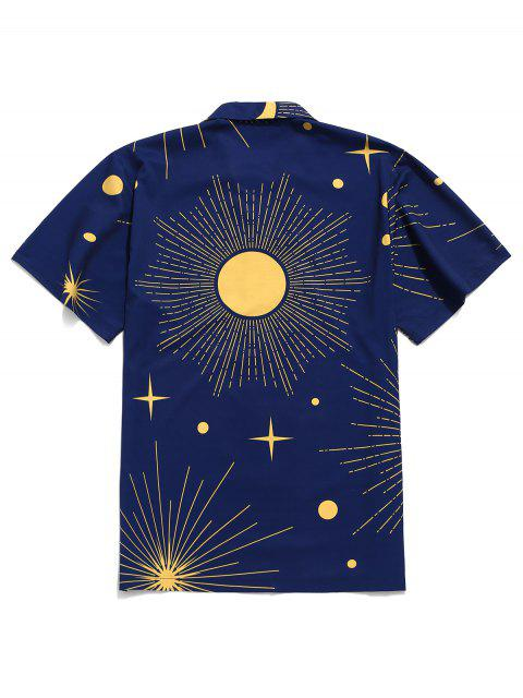 hot Sparkly Sun and Moon Print Short Sleeves Shirt - NAVY BLUE L Mobile
