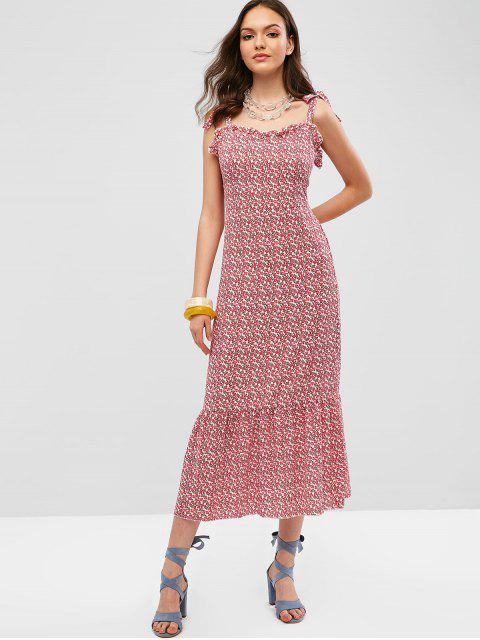 fashion Tied Straps Floral Smocked Midi Dress - RED L Mobile