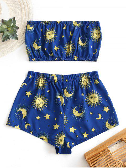 outfits ZAFUL Star Sun and Moon Bandeau Top And Shorts Set - BLUEBERRY BLUE S Mobile