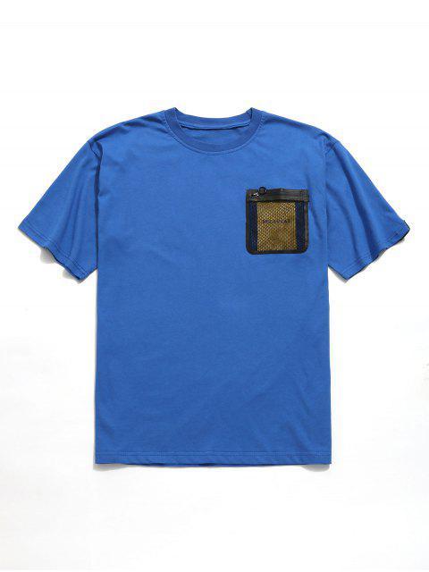 Camiseta de túnica con bolsillo en el pecho de rejilla - Azul Océano  S Mobile