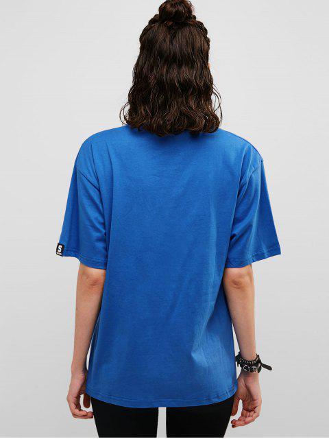 Camiseta de túnica con bolsillo en el pecho de rejilla - Azul Océano  L Mobile