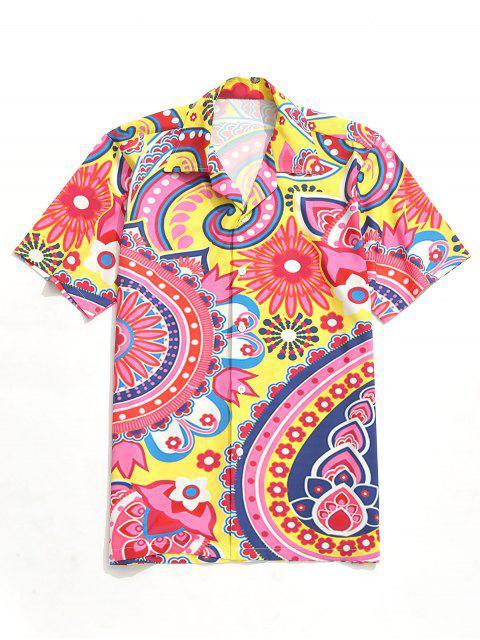 Camisa de manga corta con estampado de flores de Paisley - Multicolor XL Mobile