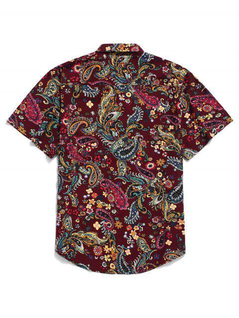 قميص بيزلي بطباعة كم قصير - وردة حمراء 2XL Mobile