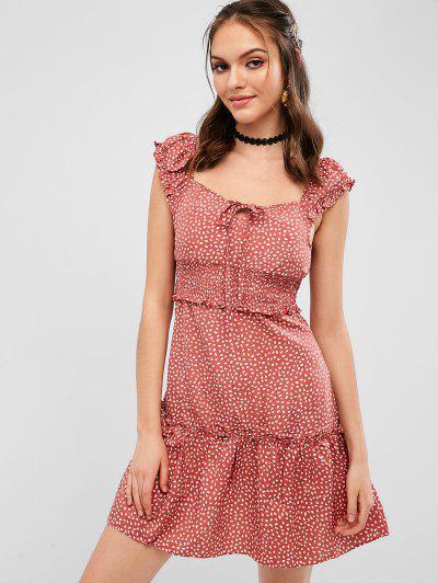 900146554b Mini Vestido Con Estampado De Gotas De Lluvia De Cintura Ajustada - Rosa  Khaki S