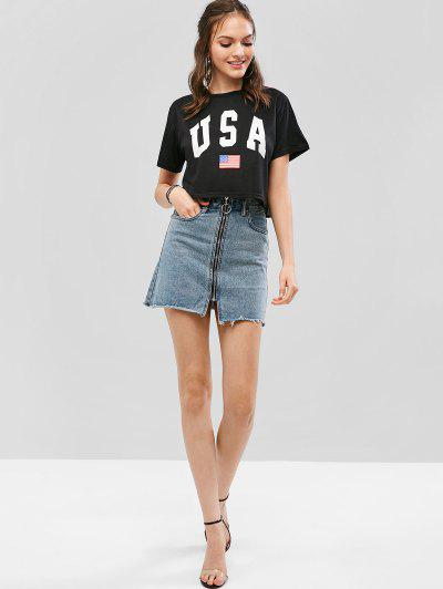 American Flag Letter Graphic Crop Tee, Black