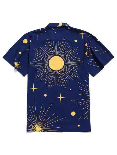 fa421da606 ... Camisa De Manga Corta Con Estampado De Sol Y Luna Brillante - Azul  Marino S