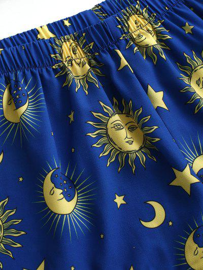 ZAFUL Star Sun and Moon Bandeau Top And Shorts Set, Blueberry blue