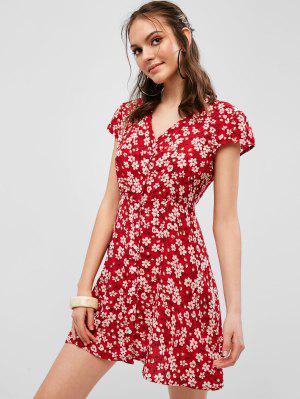 a30706e47ade8 الدانتيل احتياطي زر حتى فستان زهري - أحمر L