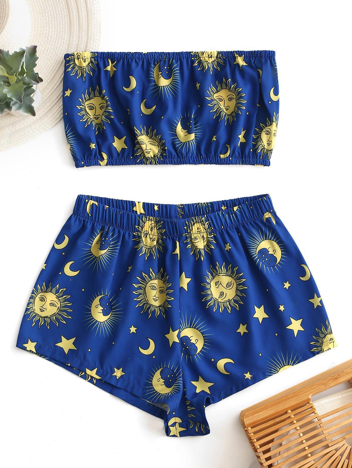 ZAFUL Star Sun and Moon Bandeau Top And Shorts Set thumbnail