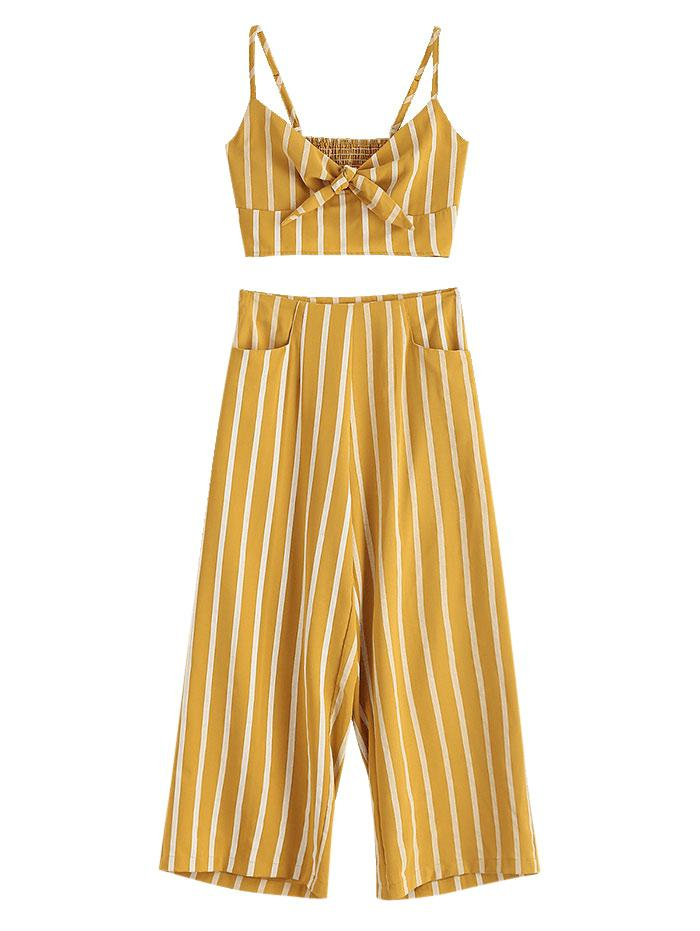 ZAFUL Smocked Stripes Tie Front Top Set, Bee yellow