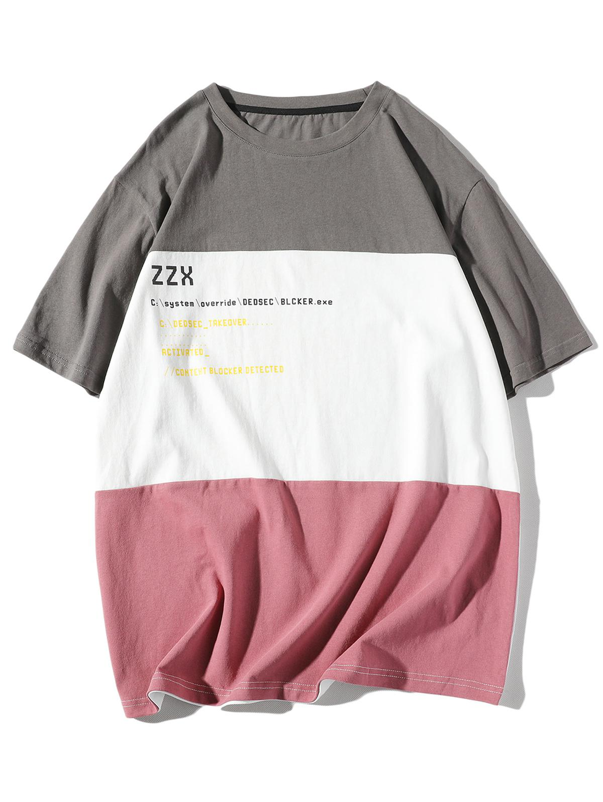 Letter Print Splicing Drop Shoulder T-shirt, Battleship gray