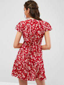 04473687 29% OFF] [HOT] 2019 Lace Up Back Button Up Floral Dress In RED | ZAFUL
