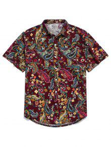 قميص بيزلي بطباعة كم قصير - وردة حمراء M