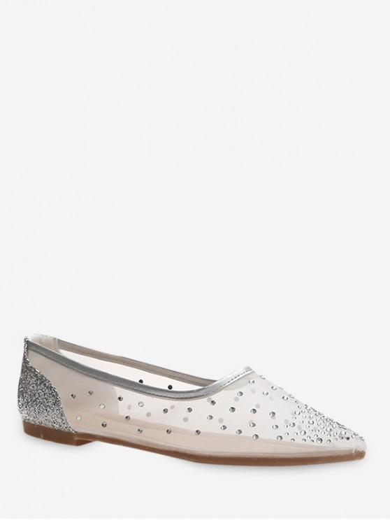 sale Shiny Sheer Mesh Flat Shoes - SILVER EU 35